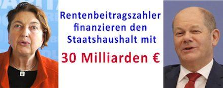 Rentenbeitragszahler finanzieren den Staatshaushalt mit 30 Milliarden €.